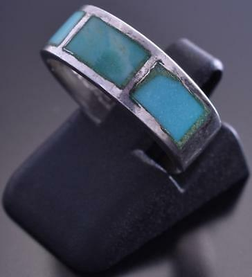 Size 5-1/2 Vintage Silver & Turquoise Navajo Inlay Ring 9A02L