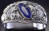 Silver & Lapis w/ Pyrite Feathers and More Navajo Bracelet by Davy Morgan 1B08U