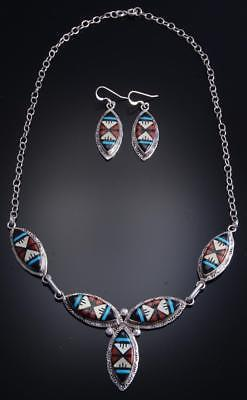 "20"" Silver Multistone Zuni Inlay Necklace & Earring Set by Gladys Lamy 7J31U"