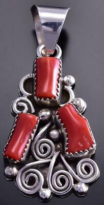 3 stone Mediterranean Red Coral Pendant by Kenneth Jones 9C23O