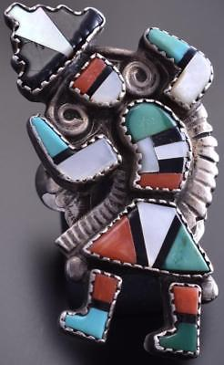 Vintage Size 9-1/2 Silver Multistone Zuni Dancer Inlay Ring by A.H. 8J02U