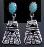 Silver & #8 Spiderweb Turquoise Tufacast Shield Earrings by Erick Begay 7C04Z