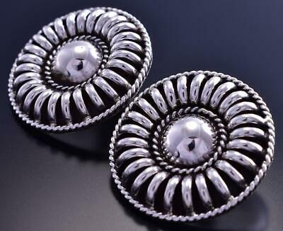All Silver Round Navajo Sun Rays Earrings by Thomas Charley 9B26Y