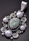 Silver & #8 Spiderweb Turquoise & Fresh Pearl Navajo Pendant Erick Begay ZC19H