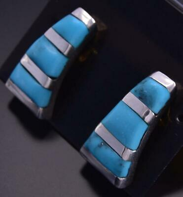 Silver & Turquoise Zuni Inlay Tower Earrings by Brandon Siutza ZG24P