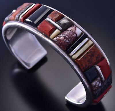 Vintage Multistone inlay Bracelet by Lynol Yellowhorse 9L14F