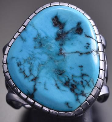 Size 10-1/2 Silver & Turquoise Navajo Hand Stamp Men's Ring by Erick Begay 8F27D