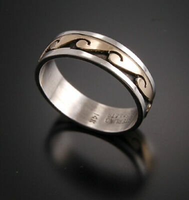 Size 9-1/4 - 14K Gold and Silver Water Symbol Ring VN12I