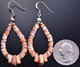 All Spiny Oyster Shell Stack Tear Drop Hoop Earrings by Lorrissa Tohe-Tso 8G23B