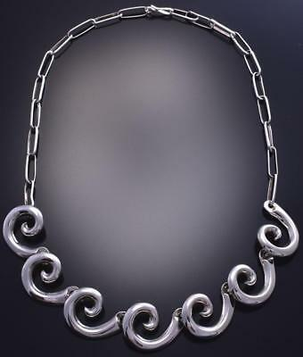 "16"" All Silver Water flow Navajo Necklace by Isabelle Kee 9A16P"