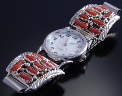 Silver Mediterranean Coral Natural Navajo Watchband by MRS 7G29F