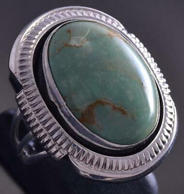 Size 6 Silver & Turquoise Navajo Round Ring by Samuel Yellowhair ZG17P