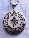Collectible Reversible All Silver Hopi Kokopelli & Mudhead Necklace C1915P