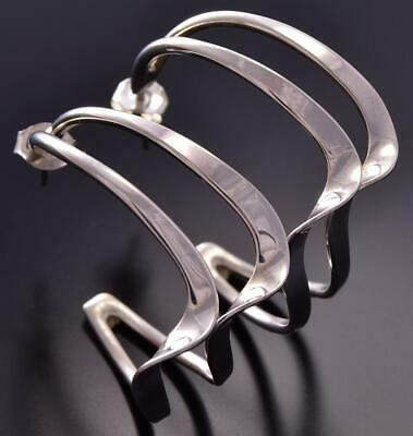 All Silver Navajo Water Flow Double Wire Hoop Earrings by Elaine Tahe ZE06W