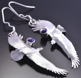 All Silver Finely Stamped Navajo Eagles In Flight Earrings by Wil Arviso 8G09T