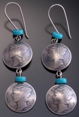 Silver Turquoise Double Coin Earrings by James McCabe - 7J20D