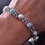 Silver & #8 Spiderweb Turquoise & Fresh Pearl Link Bracelet by Erick Begay ZC19Y