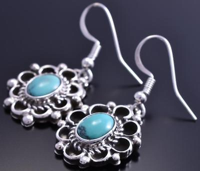 Silver & Turquoise Flowers Times Two Navajo Handmade Earrings by L 8G10N