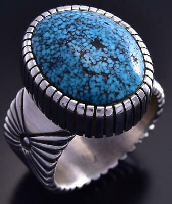 Size 13 Silver & Kingman Turquoise Navajo Men's Ring by Erick Begay 9K17K