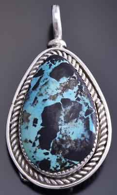 Reversible Silver & 2 Turquoise Feather Navajo Large Pendant by Gary Henry 8E23A