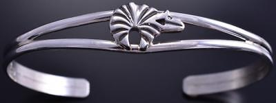 All Silver Softline Bear Open Navajo Bracelet by Thomas Francisco 8D04H