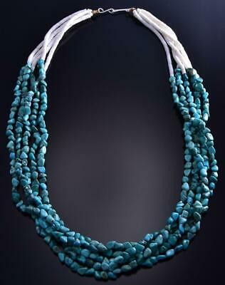 "23"" Five Strand Turquoise Nugget Necklace by Randy Garcia 9F26J"