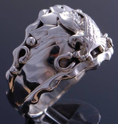 Size 13 All Silver Hunting Eagle Men's Ring by G. Francisco 7J27G-1