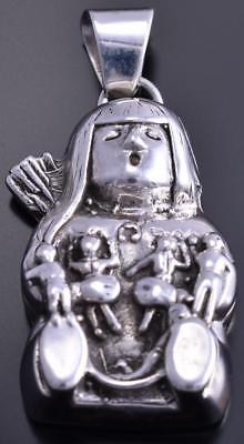 All Silver Large Pueblo Story Teller with Family Pendant 8E03R