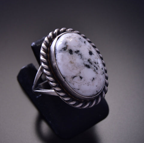 Size 5-1/4 White Buffalo Turquoise Ring by Alfred Martinez 9M16K
