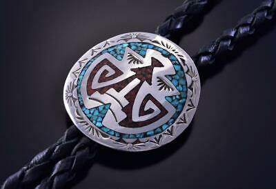 Silver & Turquoise Navajo Chip Inlay Arrowhead Tips Bolo Tie Joleen Yazzie ZK25N