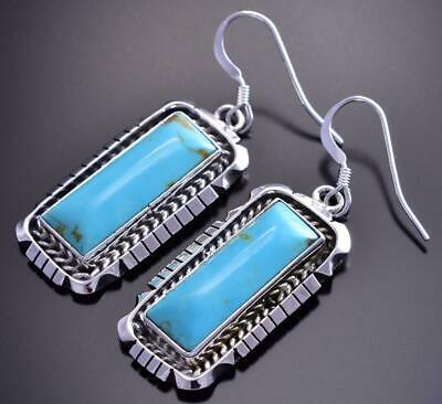 Silver & Turquoise Navajo Long Earrings by Amos Begay 9B26E