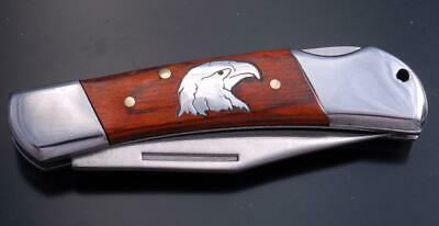 Beautiful Silver EAGLE HEAD and Wood Knife by Tom Gwynn 9J03D