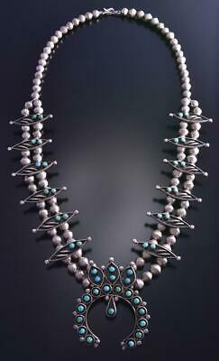 "Vintage 28"" Silver & Turquoise Zuni Petty Point Squash Blossom Necklace 9F26F"