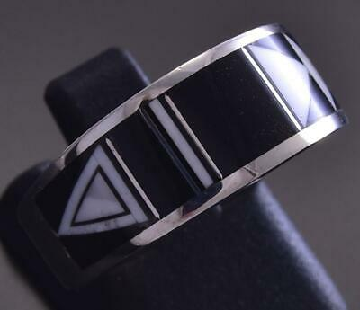 Size 6-3/4 Silver Jet Multistone Navajo Inlay Ring by Rick Tolino ZG17N