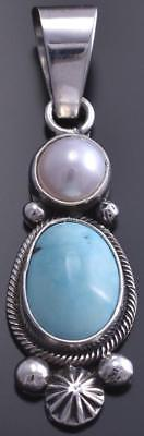 Silver & Turquoise & Fresh Water Pearl Navajo Pendant by Erick Begay 8E03S