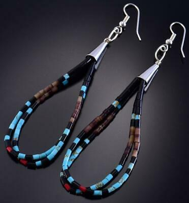 Silver & Turquoise Multistone Loops Santo Domingo Earrings by E. Tenorio 1C17U