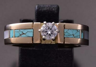 Size 6.5 14k Gold & Turquoise w/ 1/4 ct. Diamond Inlay Ring Erick Begay ZD07B