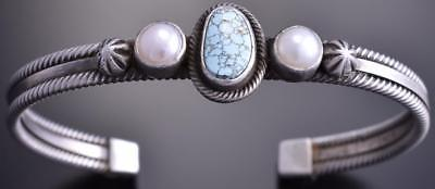 Silver #8 Spiderweb Turquoise & Fresh Pearl Navajo Bracelet by Erick Begay 8F27K