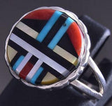 Size 7-3/4 Silver Multistone Zuni Inlay Round Ring by Rudell Lonjose ZG17J