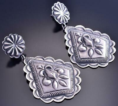 All Silver Navajo Concho Hand Stamp Earring by Eugene Charley 9B26J