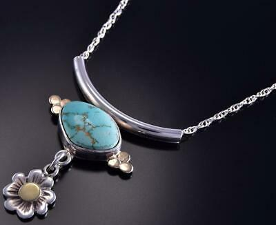 "19"" Silver & 18k Gold & #8 Spiderweb Turquoise Flower Necklace Erick Begay ZL10E"