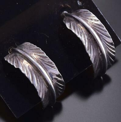Handmade Feather Hoop Earrings - Navajo Handmade 9J20H