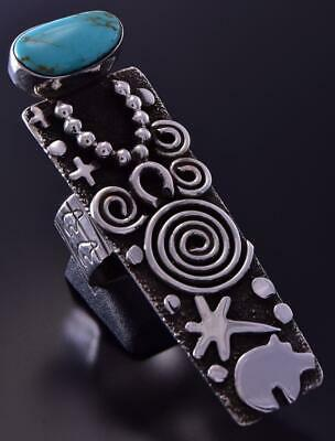 Size 8-3/4 Silver Turquoise The Navajo People Long Ring by Alex Sanchez ZB24D