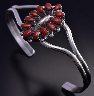 Silver and Red Coral Zuni Bracelet by Mary Ann Chavez 9K09H
