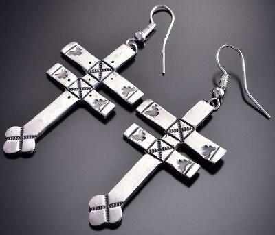 Dragonfly Cross Navajo Silver Earring by L. Marble 9D04M