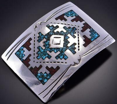 Silver & Turquoise & Coral Navajo Chip Inlay Rug Buckle by Joleen Yazzie 1B26F