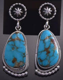 Silver & Turquoise Top Navajo Concho Earrings by Verley Betone ZG15H