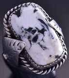 Vintage Size 10-3/4 Silver & White Buffalo Turquoise Feathers Navajo Ring ZG23D