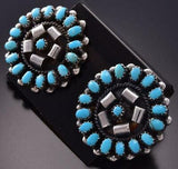 Silver & Turquoise Flower Shaped Zuni Earrings by Lorencita Walela ZE06H