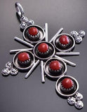 Zuni Mediterranean Red Coral Cross Pendant by Terry Dishta 9C23Q